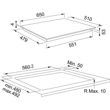 Plita inductie incorporabila Franke Mythos FMY 658 I FP BK cu 8 zone, 65cm, Nero