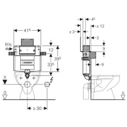 Rezervor incastrat Geberit Omega de 12cm grosime, cu actionare frontala sau de sus, H82 cm