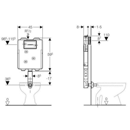 Rezervor incastrat Geberit Sigma UP720, grosime 8cm, actionare frontala