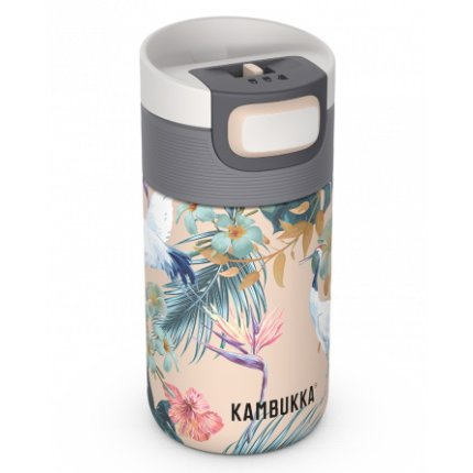 Cana termos Kambukka Etna cu capac 3 in 1 Snapclean, inox, 300ml, Paradise Flower