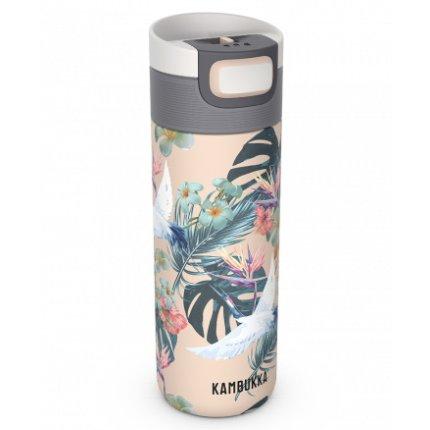 Cana termos Kambukka Etna cu capac 3 in 1 Snapclean, inox, 500 ml, Paradise Flower