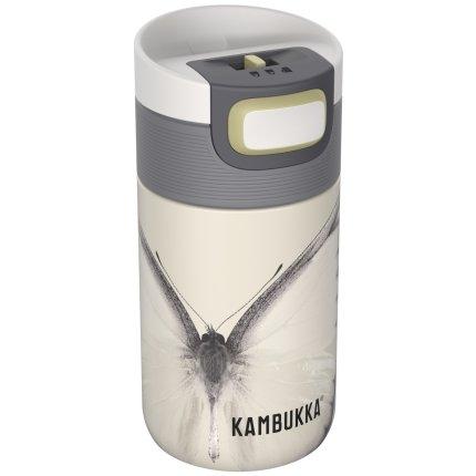 Cana termos Kambukka Etna cu capac 3 in 1 Snapclean, inox, 300ml, Yellow Butterfly