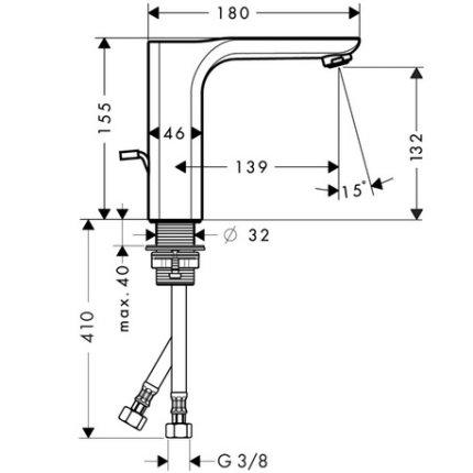 Baterie lavoar Hansgrohe Axor Urquiola, ventil pop-up