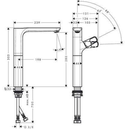Baterie lavoar Hansgrohe Axor Urquiola 280, pentru lavoar tip bol