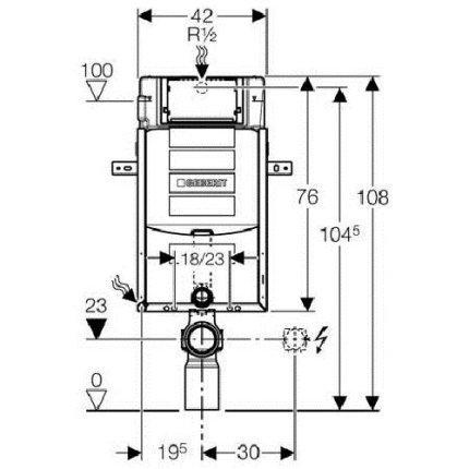 Rezervor incastrat Geberit Kombifix Sigma UP320 de 12 cm grosime cu cadru si actionare frontala, H108 cm