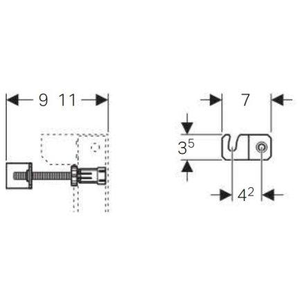 Set de fixare Geberit pentru cadre Duofix cu rezervoare de 8cm grosime