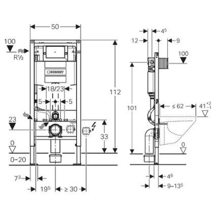 Rezervor incastrat Geberit Duofix Omega de 12 cm grosime si cadru cu actionare frontala , H112 cm