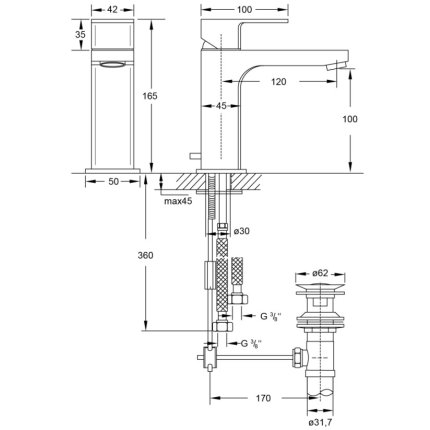 Baterie lavoar Steinberg seria Triple One, pipa 120mm, ventil pop-up