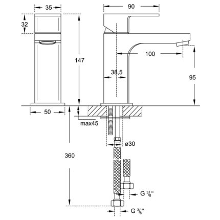 Baterie lavoar Steinberg seria Triple One, pipa 100mm, fara ventil