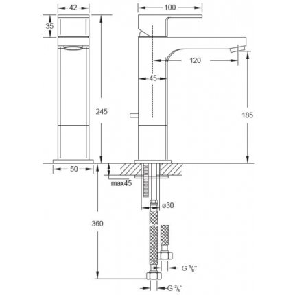 Baterie lavoar Steinberg seria Triple One, inaltime 185mm, fara ventil