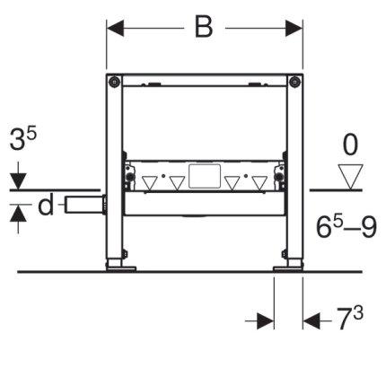 Cadru Geberit Duofix 50 pentru rigola dus de perete 65 - 90 mm