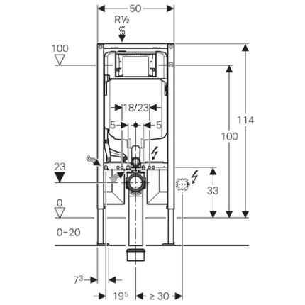 Rezervor incastrat Geberit Duofix Sigma de 8 cm grosime cu cadru si actionare frontala, H112 cm