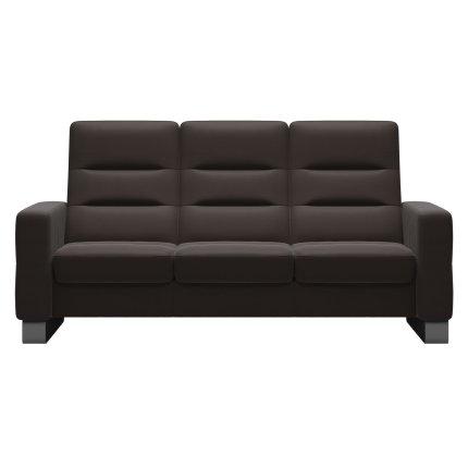 Canapea cu 3 locuri Stressless Wave M cu spatar inalt, picioare inox, tapiterie piele Paloma Chestnut