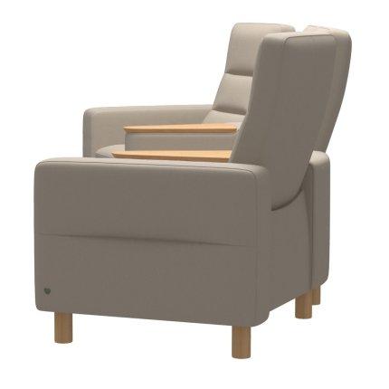 Canapea cu 4 locuri Stressless Wave M Sector setup 121 cu spatar inalt, picioare lemn oak, tapiterie piele Paloma Fog