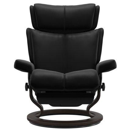 Fotoliu recliner Stressless Magic Classic Power, cadru wenge, tapiterie piele Batik Black