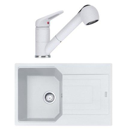 Set Franke Bianco: chiuveta fragranite Urban UBG 611-78, 780x500mm + baterie Novara Plus cu dus extractibil