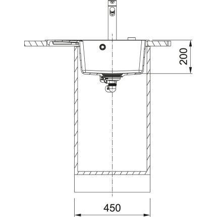 Chiuveta bucatarie fragranite Franke Centro CNG 611/211-62 DR, picurator dreapta, 62x50cm, Matt Black