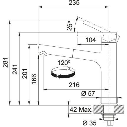 Baterie bucatarie Franke Centro cu pipa extractibila, Inox/Black Matt
