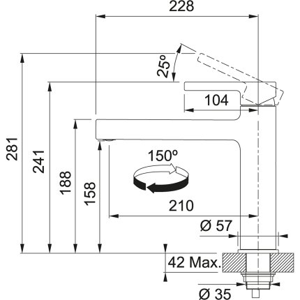 Baterie bucatarie Franke Centro cu pipa fixa, Inox/Nero