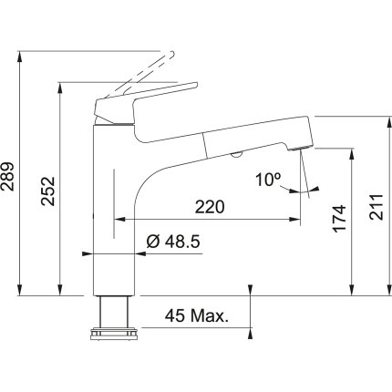 Baterie bucatarie Franke Lift cu dus extractibil, Inox