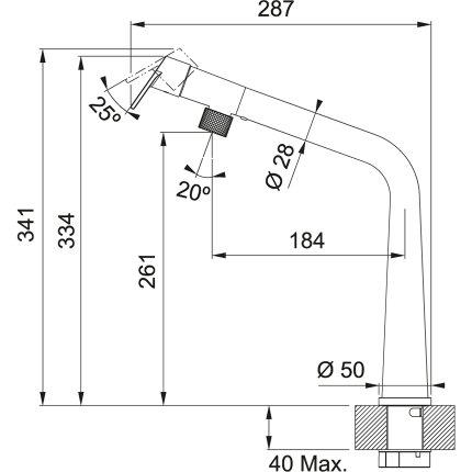 Baterie bucatarie Franke Icon cu pipa fixa, Black Matt