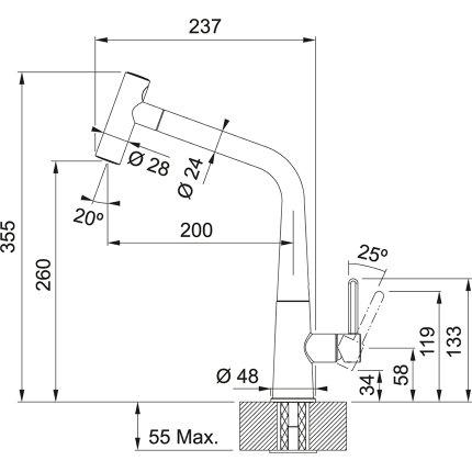 Baterie bucatarie Franke Icon cu dus extractibil, inox