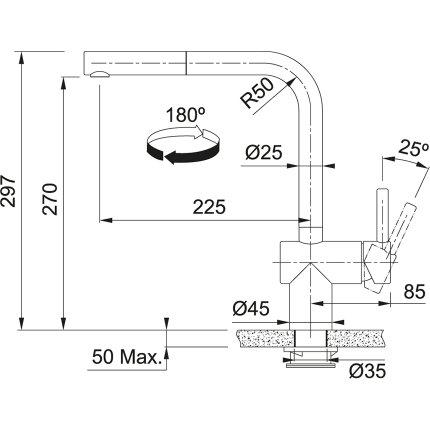 Baterie bucatarie Franke Atlas Neo S cu senzor si dus extractibil, Inox