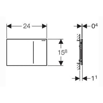 Clapeta actionare hidraulica Geberit Sigma70 inox periat, pentru rezervoare Sigma8cm