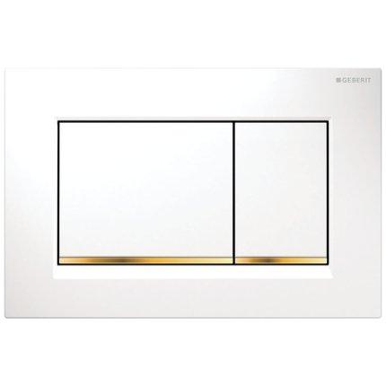 Clapeta actionare Geberit Sigma30 alb, detalii auriu