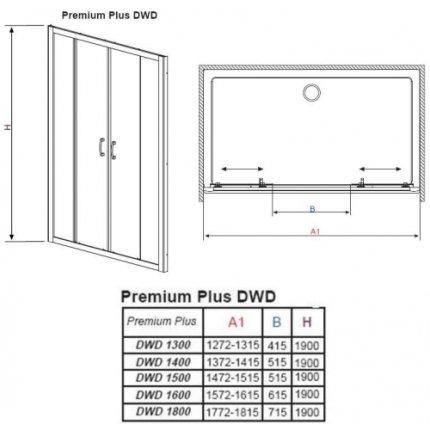 Usa de nisa tip cortina Radaway Premium Plus DWD 140cm