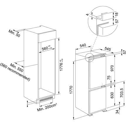 Combina frigorifica incorporabila Franke FCB 320 NE F, 274 litri brut, Clasa A+