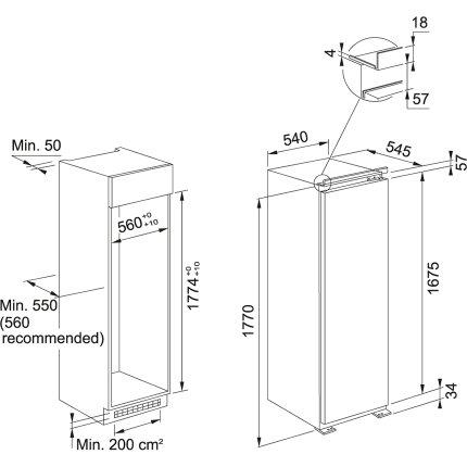 Congelator incorporabil Franke FSDF 330 NF NE F No Frost, 241 litri brut, Clasa A+