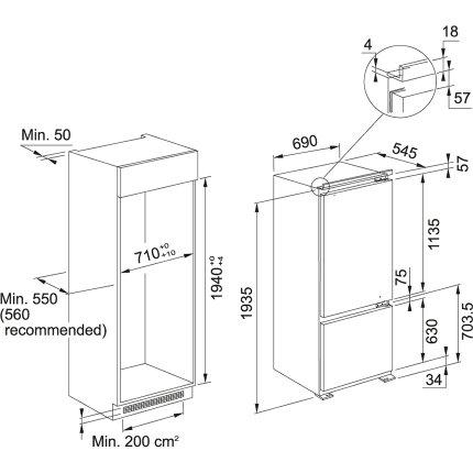 Combina frigorifica incorporabila Franke FCB 400 V NE E, 401 litri brut, Clasa A++