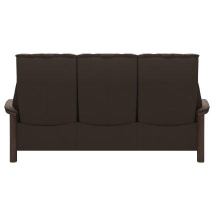 Canapea cu 3 locuri Stressless Windsor M cu spatar inalt, cadru Walnut, tapiterie piele Batik Mole