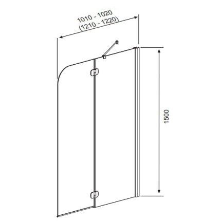 Paravan cada Radaway Torrenta PND/R, element fix + element mobil, 121 cm, orientare dreapta, profil crom