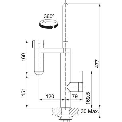 Baterie bucatarie Franke Vital cu sistem filtrare apa, Crom/Gun Metal