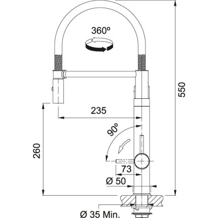 Baterie bucatarie Franke Vital Semi-Pro cu sistem filtrare apa, Black Matt