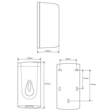 Dispenser automat sapun lichid Bemeta Hotel plastic alb 135 x 275 x 120 mm, 1000 ml