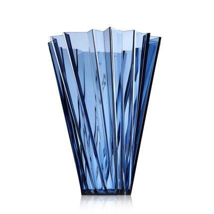 Vaza Kartell Shanghai design Mario Bellini, h44cm, albastru transparent