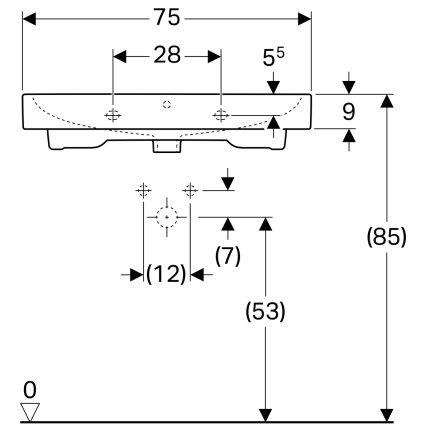 Lavoar Geberit iCon 75x48.5cm, montare pe mobilier, alb