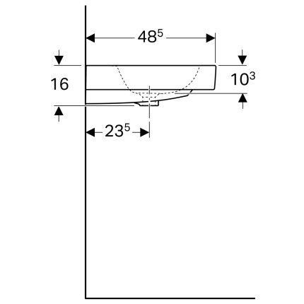 Lavoar Geberit iCon 90x48.5cm, savoniera dreapta, montare pe mobilier, alb