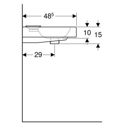 Lavoar Geberit iCon 50x48.5cm, savoniera dreapta, montare pe blat, alb