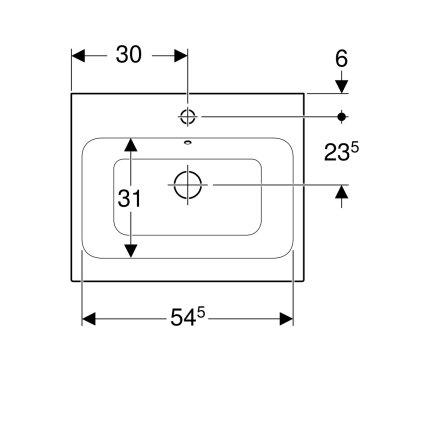 Lavoar Geberit iCon 60x48.5cm, montare pe blat, alb