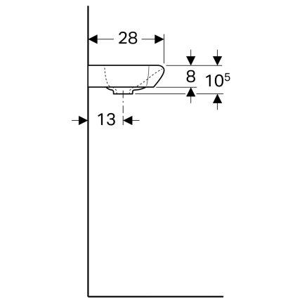 Lavoar de colt Geberit myDay 40x28cm, orificiu baterie stanga, fara preaplin, KeraTect alb