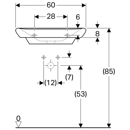 Lavoar Geberit myDay 60x48cm, fara preaplin, montare pe mobilier, KeraTect alb