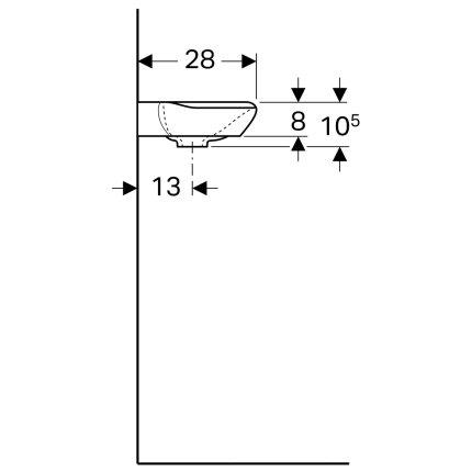 Lavoar de colt Geberit myDay 40x28cm, orificiu baterie dreapta, fara preaplin, KeraTect alb
