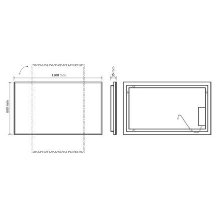 Oglinda Bemeta 120x60x3.6cm IP44, iluminare LED, senzor touch, crom