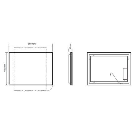 Oglinda Bemeta 60x80x3.6cm IP44, iluminare LED, senzor touch, crom