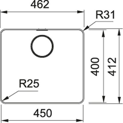 Chiuveta bucatarie Franke Mythos MYX 210-45, 45x40cm, inox satinat