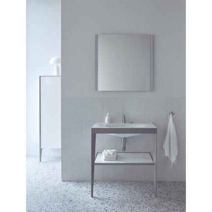 Set mobilier Duravit XViu cu lavoar 100cm, consola metalica champagne mat si raft de sticla negru lucios